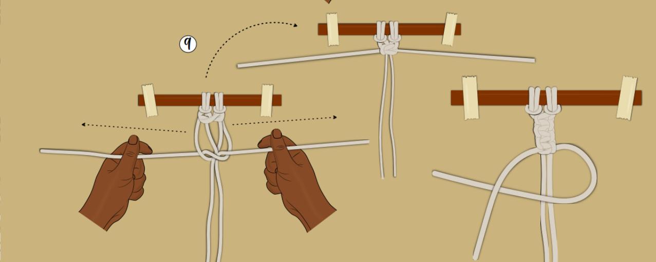 ilustração ponto a ponto - ponto Macramê nó quadrado