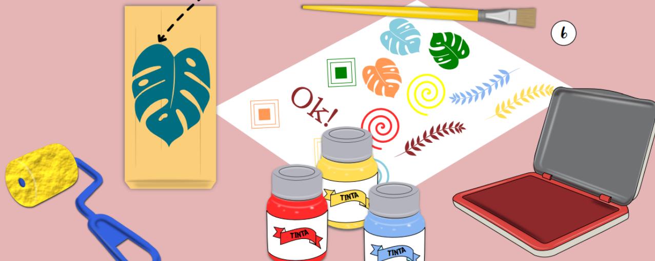 Ilustração com materiais de pintura da oficina estamparia
