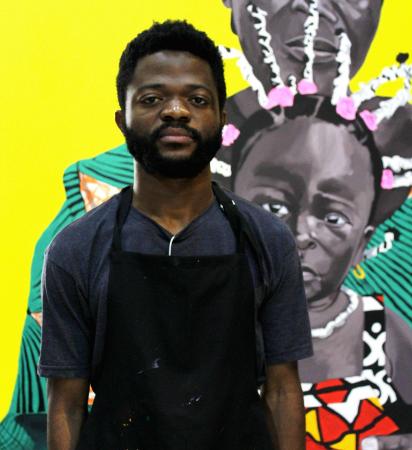 O artista Paulo Chavonga criou grandes telas relacionadas ao tema proposto da edição de 2021 do Programa de Residência Artística.
